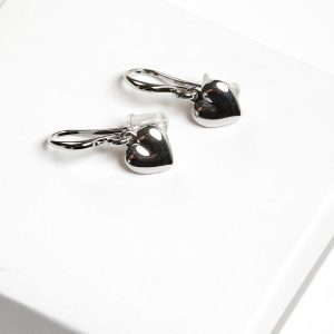 Highly Polished Silver Heart Hook Earrings