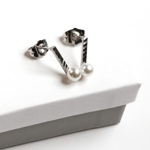 Silver Stud Drop Freshwater Pearl Earrings