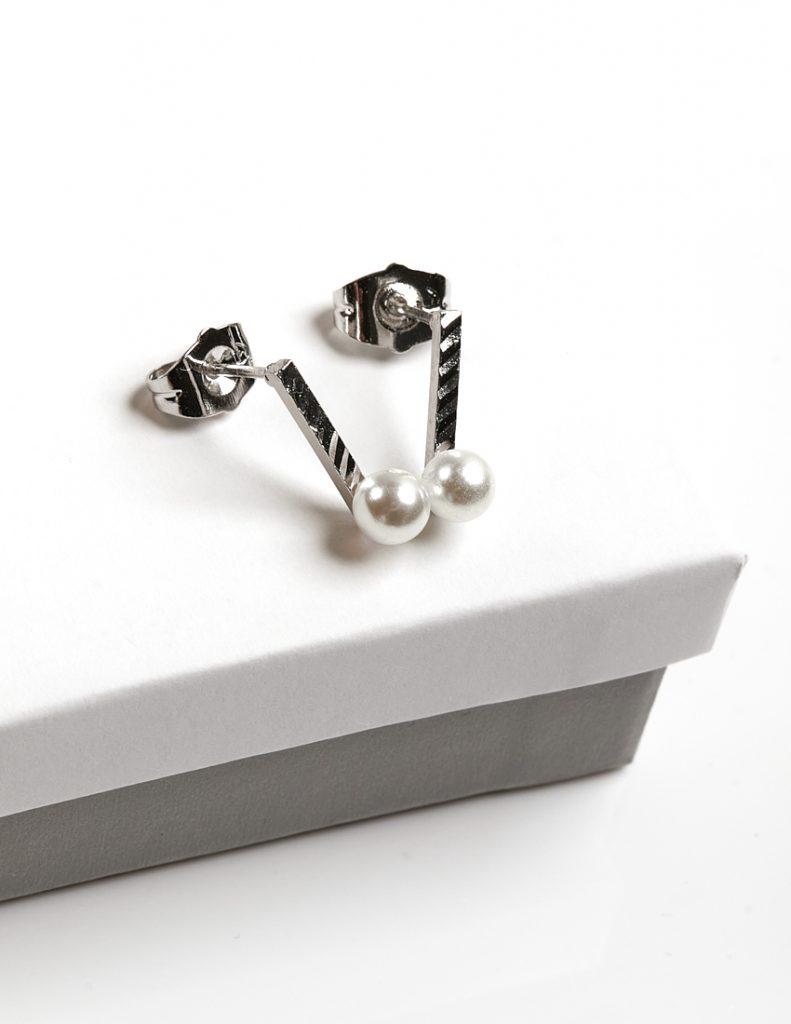 Callel Silver Stud Drop Freshwater Pearl Earrings