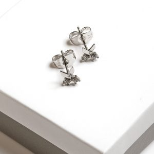Silver Scissors Cubic Zirconia Crystal Stud Earrings