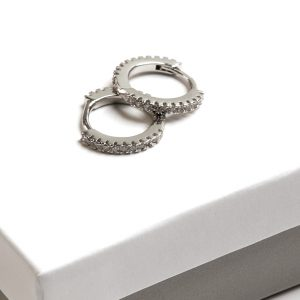 Callel Silver CZ Huggie Hoop Earrings