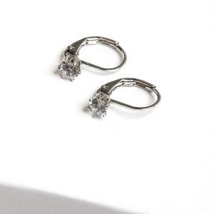 Silver Cubic Zirconia Huggie Leverback Earrings