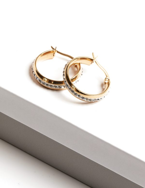 Callel 24K Gold Color Stainless Steel Cubic Zirconia Creole Earrings