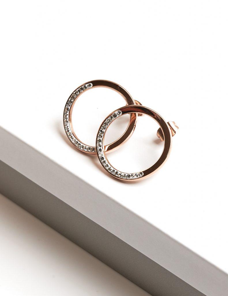 Callel Rose Gold Large Circle Cz Crystal Stud Earrings