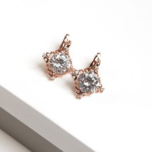 Rose Gold Four Point Cubic Zirconia Crystal Latch Back Earrings