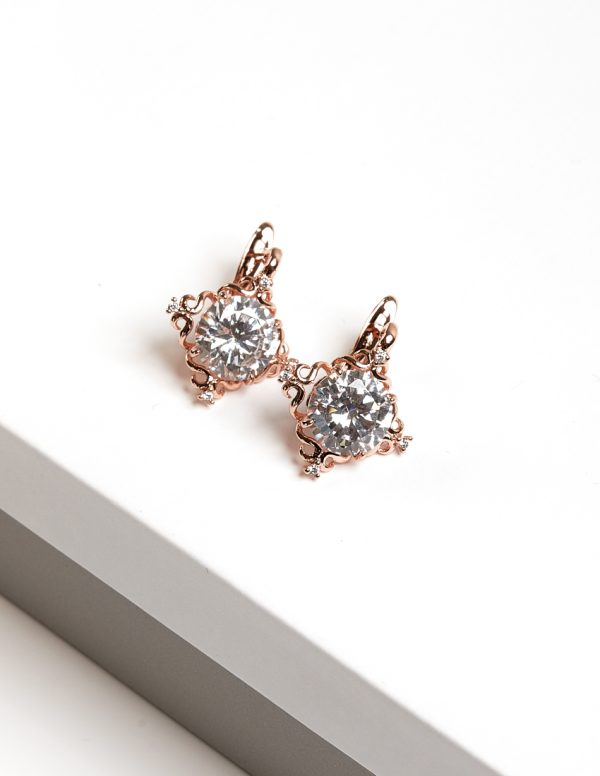 Callel Rose Gold Latch Back Creole Earrings