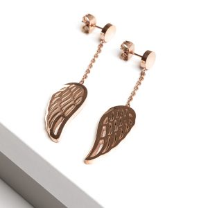 Callel Angel Wing Rose Gold Drop Earrings