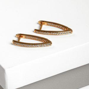 24K Gold Cubic Zirconia Latch Back Earrings