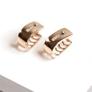 Gold Ovate Hearts Huggie Earrings
