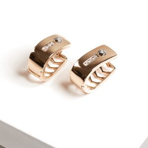 18K Gold Ovate Huggie Earrings