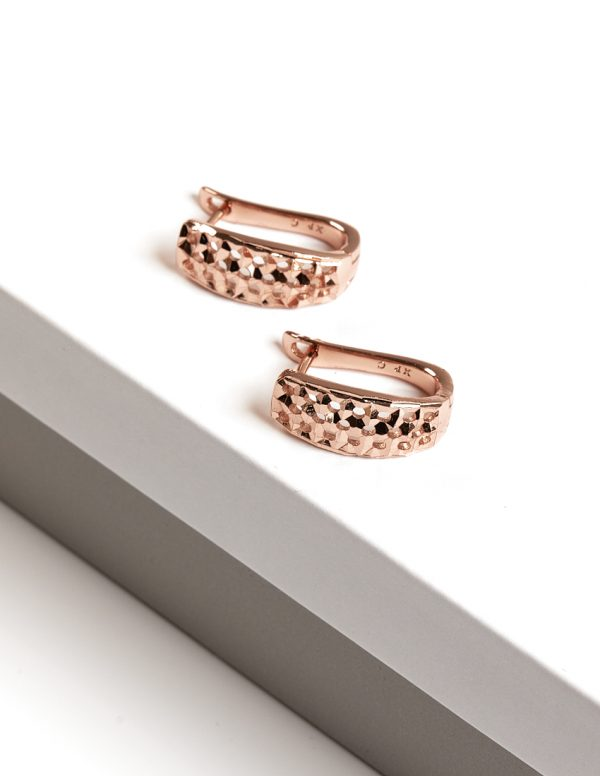 Callel Rose Gold Color Latch Back Earrings