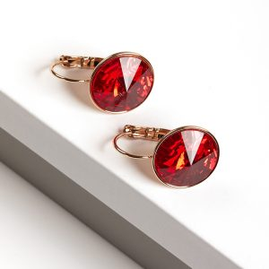 18K Gold Earrings Embellished With Red Crystal From Swarovski
