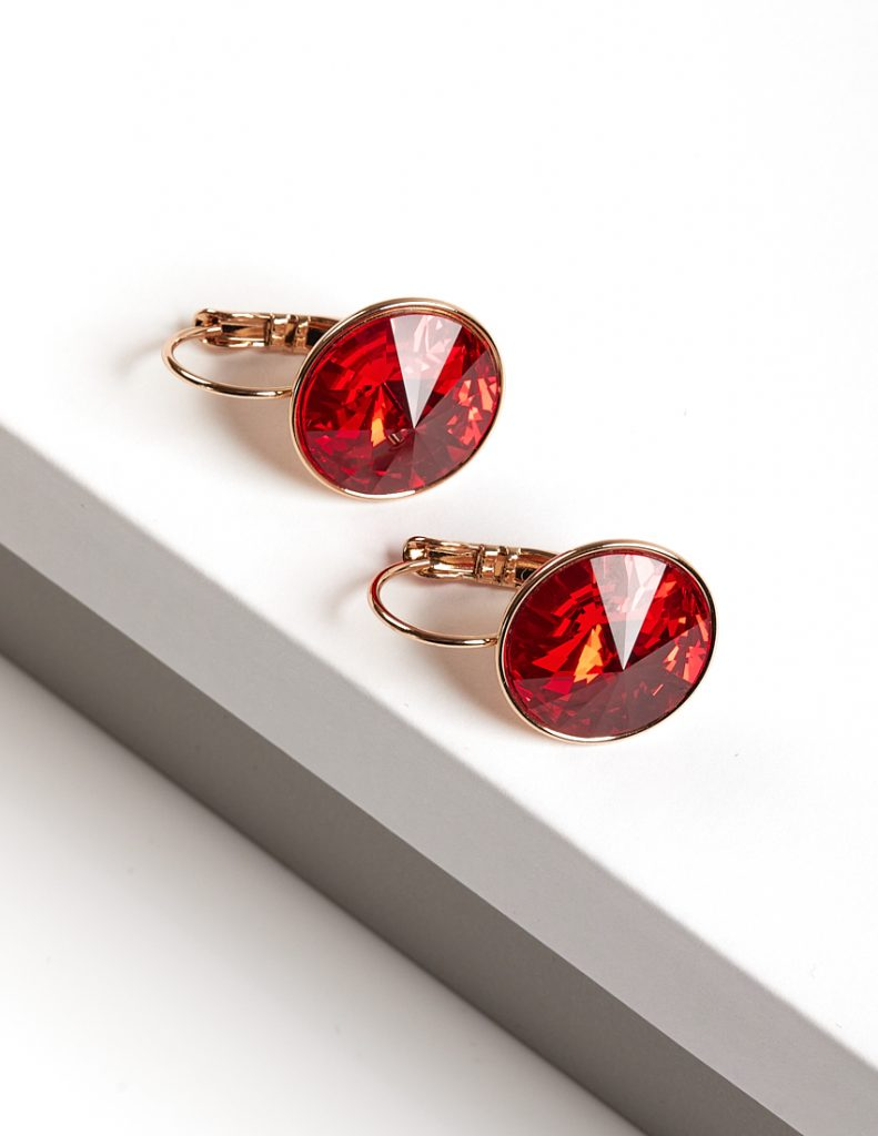 Callel 18K Gold Color Earrings Embellished with Red Crystal from Swarovski