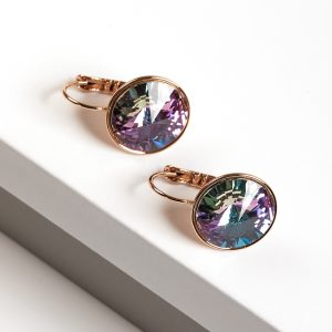 18K Gold Earrings Embellished With Lilac Crystal From Swarovski