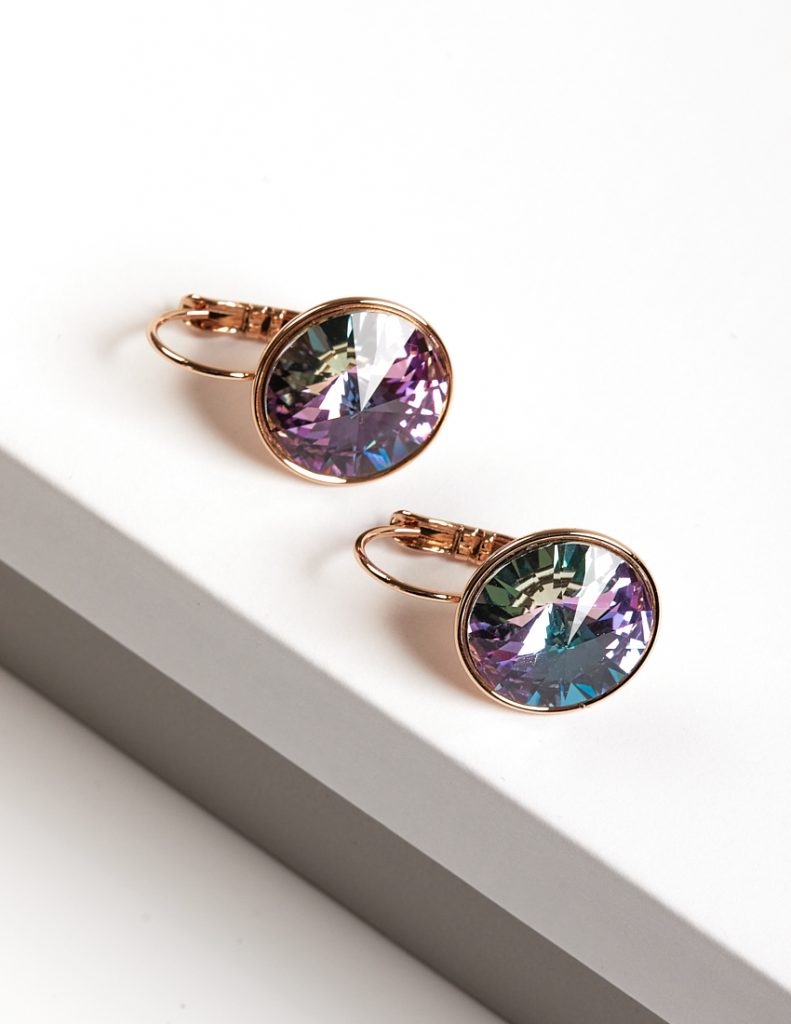 Callel 18K Gold Color Earrings Embellished With Lilac Crystal From Swarovski