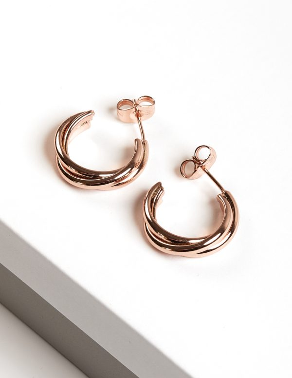 Callel Rose Gold Twisted Half Hoop Stud Earrings