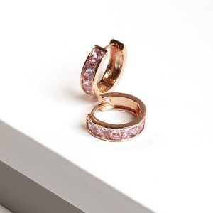 18K Gold Pink Cubic Zirconia Huggie Hoop Earrings
