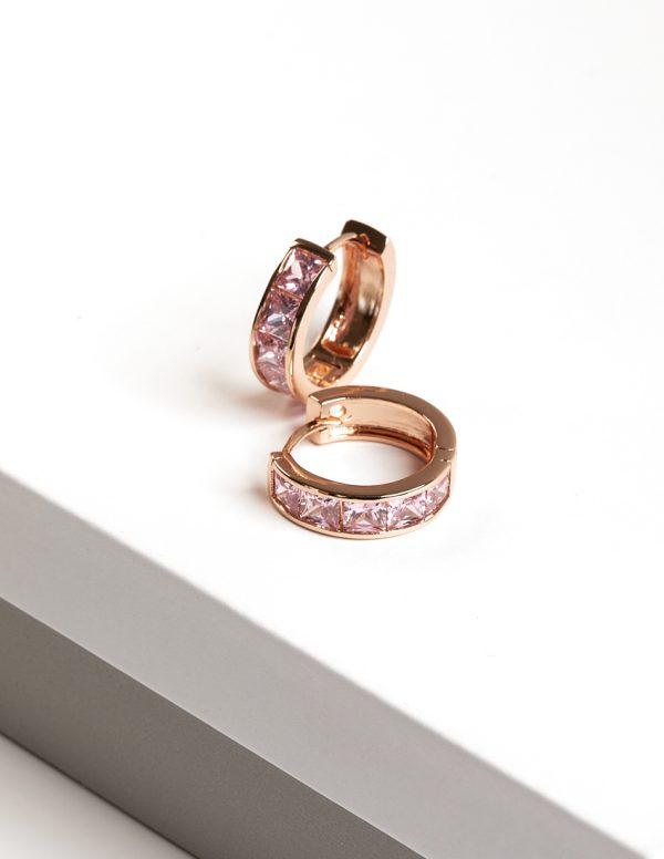 Callel 18K Gold Color Pink Cubic Zirconia Huggie Hoop Earrings