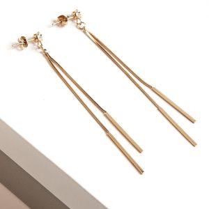 14K Gold Note Long Drop Stud Earrings