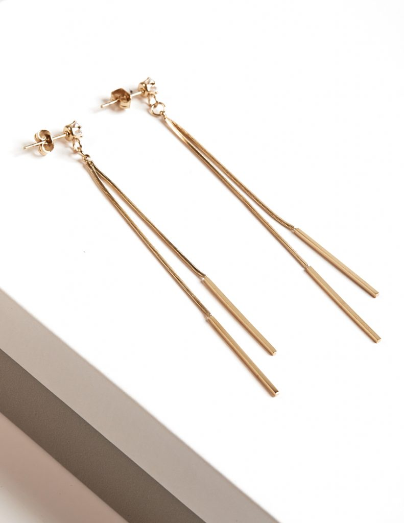 Callel 14K Gold Color Note Long Drop Stud Earrings