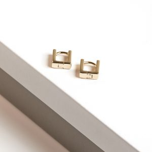 Tiny Huggie 14k Gold Color Square Huggie Earrings