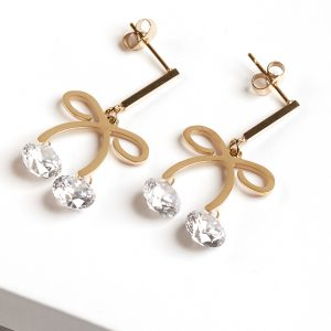 14k Gold Bow Drop Dangle Earrings