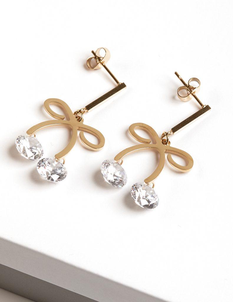 Callel 14k Yellow Gold Bow Drop Earrings