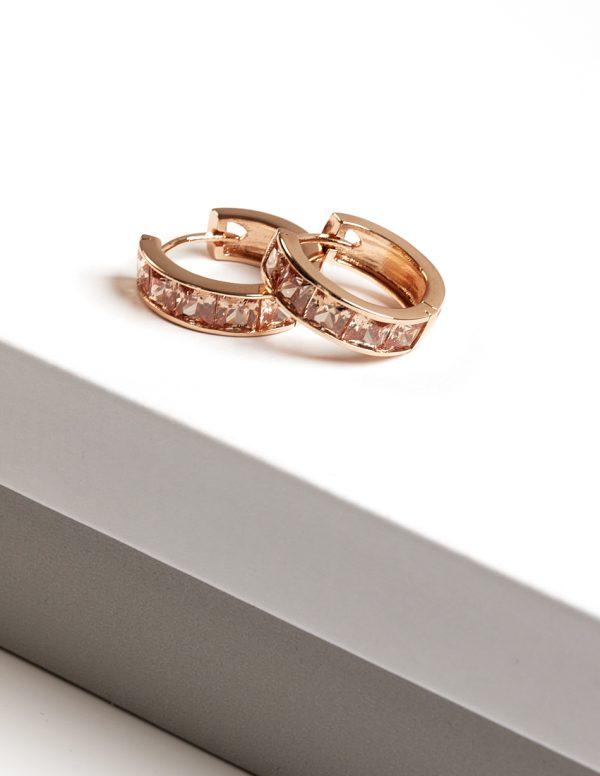Callel Champagne Cubic Zirconia Huggie Hoop Earrings In Gold