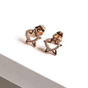 18K Gold Heart & Star Cubic Zirconia Stud Earrings