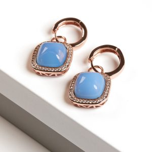 Rose Gold Aquamarine Huggie Earrings
