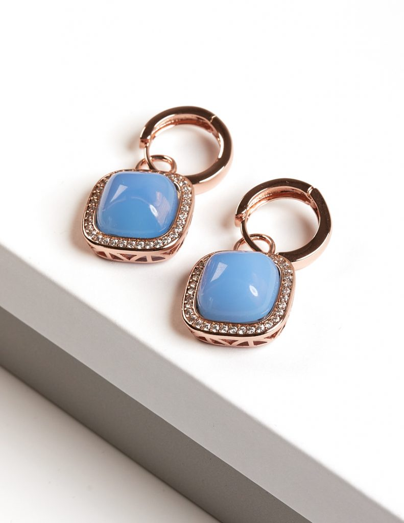 Callel Rose gold Aquamarine Huggie Earrings
