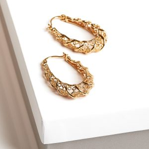 24K Gold Thick Patterned Creole Hoop Earrings