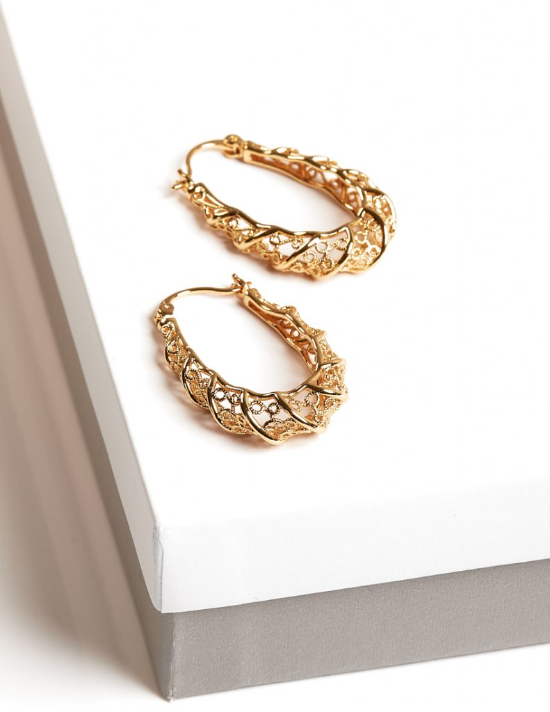 Callel 24K Gold Color thick patterned creole hoop earrings