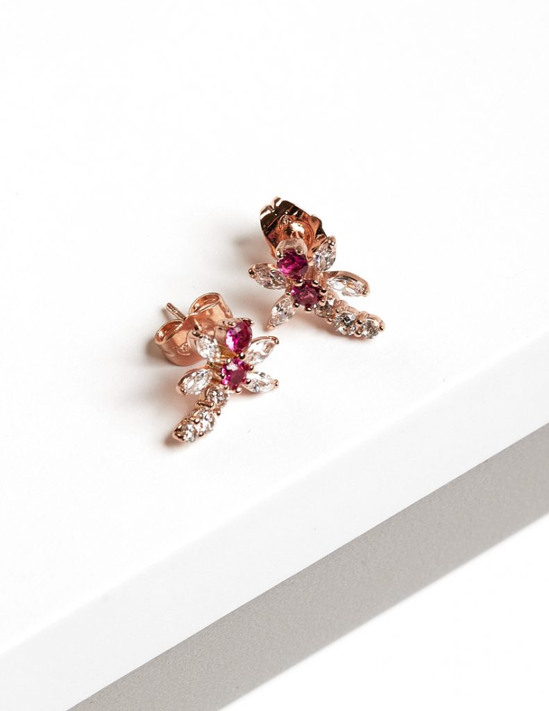 Callel Dragonfly Rose Gold Cubic Zirconia Stud Earrings