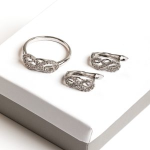 Silver Cubic Zirconia Infinity Earrings & Ring Jewellery Set