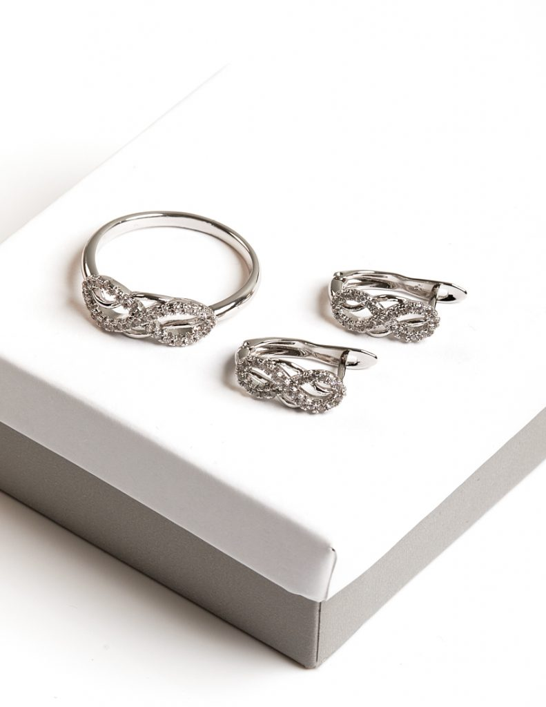 Callel Silver Cubic Zirconia Infinity Earrings and ring Jewellery Set
