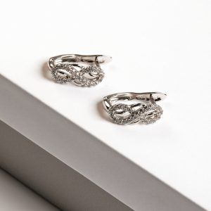 Silver Cubic Zirconia Infinity Earrings