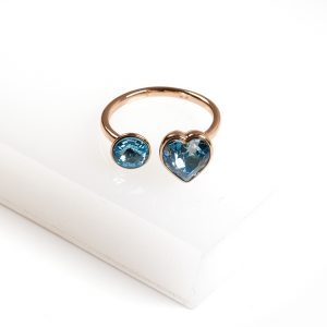 18K Gold Open Heart Ring Embellished With Aquamarine Crystal From Swarovski