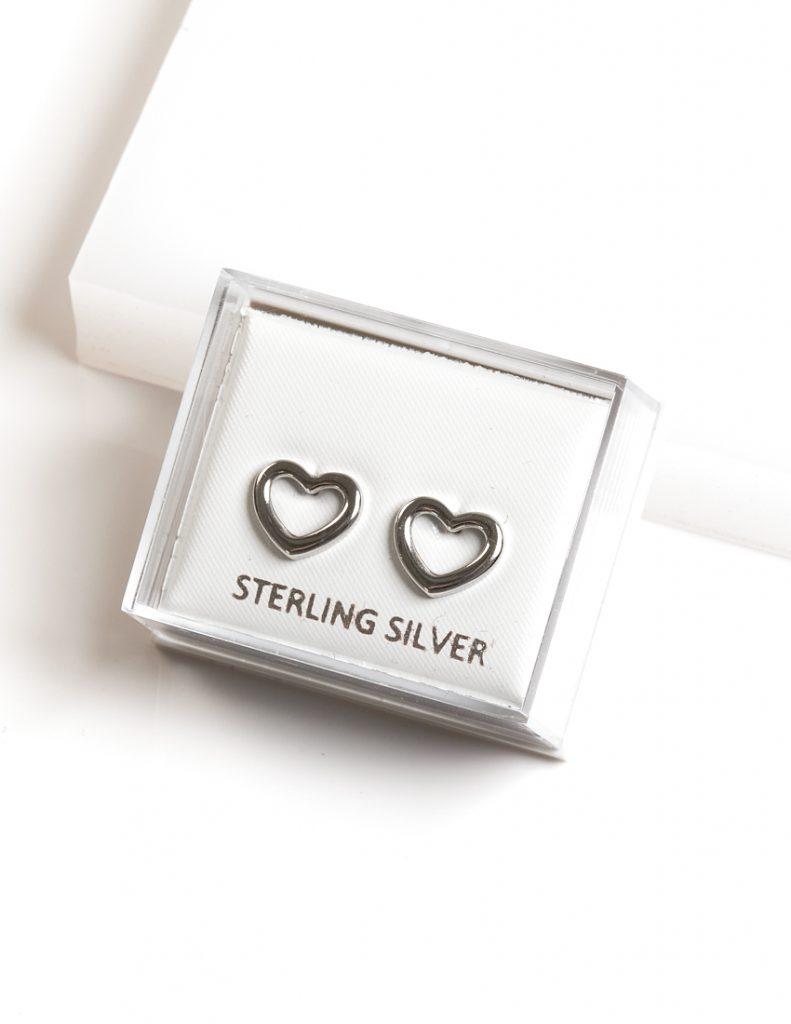Callel 925 Sterling Silver Open Heart Stud Earrings