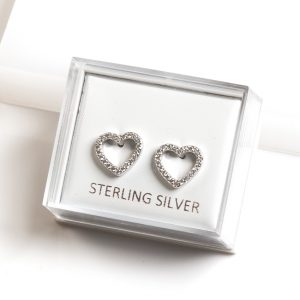 925 Sterling Silver Clear Cubic Zirconia Heart Stud Earrings