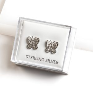 925 Sterling Silver Clear Cubic Zirconia Butterfly Stud Earrings