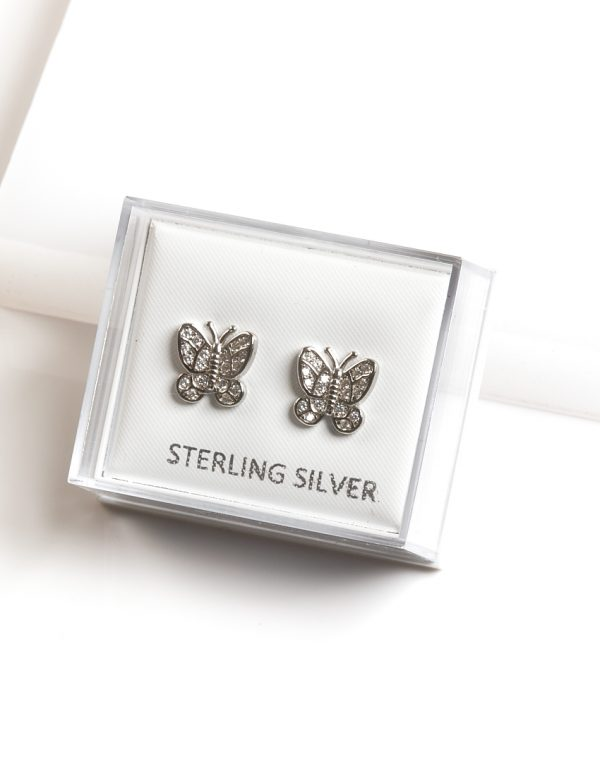 Callel 925 Sterling Silver Clear CZ Butterfly Stud Earrings