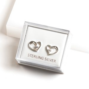 925 Sterling Silver Clear Cubic Zirconia Open Heart Stud Earrings