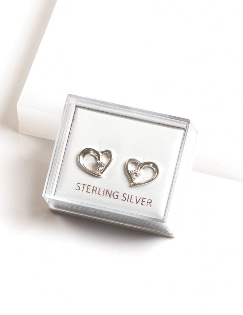 Callel 925 Sterling Silver Clear CZ Heart Stud Earrings
