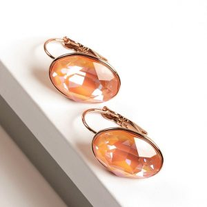 Gold Earrings Embellished With Orange Glow Crystal From Swarovski