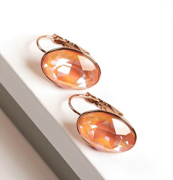 Callel Huggie Earrings Embellished with Orange Glow Crystal from Swarovski