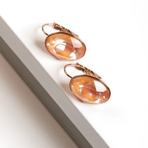 18K Gold Earrings Embellished With Orange Glow Crystal From Swarovski