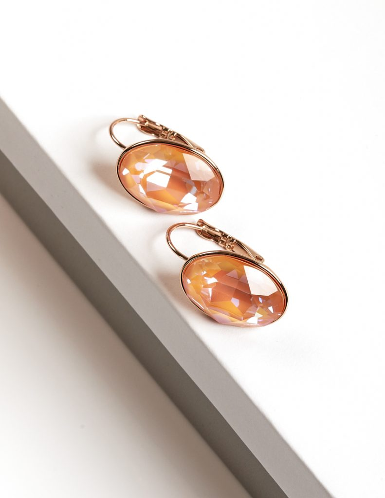 Callel 18K Earrings Embellished with Orange Glow Crystal from Swarovski