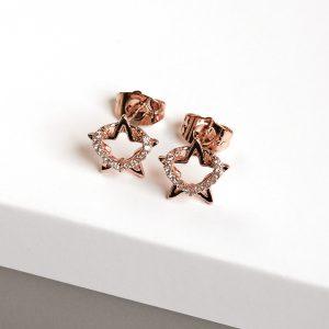 Rose Gold Tone Heart & Star Cubic Zirconia Stud Earrings