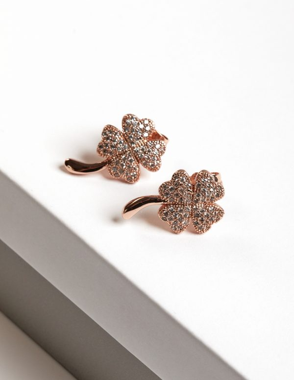 Callel Rose Gold Four Leaf Clover Stud Earrings with Cubic Zirconia